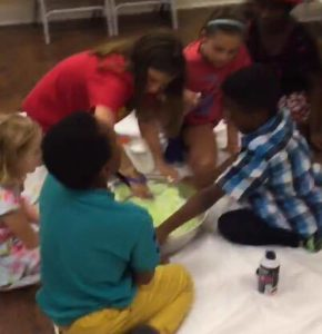 Children making slime
